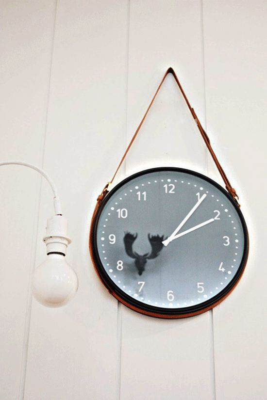 simple clock + inexpensive leather belts = Brilliant