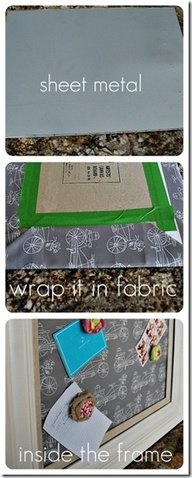 Wrap a piece of sheet metal in fabric or contact and then frame for a great background for a magnetic board!