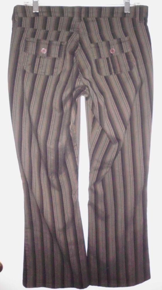 LEI Grey Black Tan Striped Lowrise Flare Stretch Dress Pants 29.5Lx33W Women VGC #LEI #DressPants
