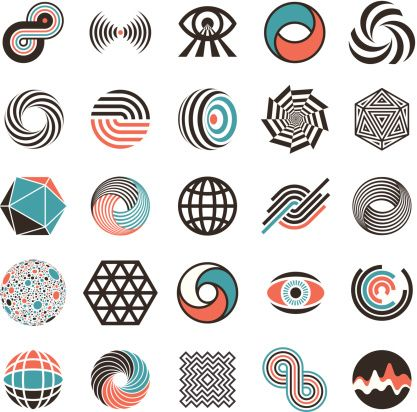 Vector Art : abstract flat design icons: motion, sound, vision