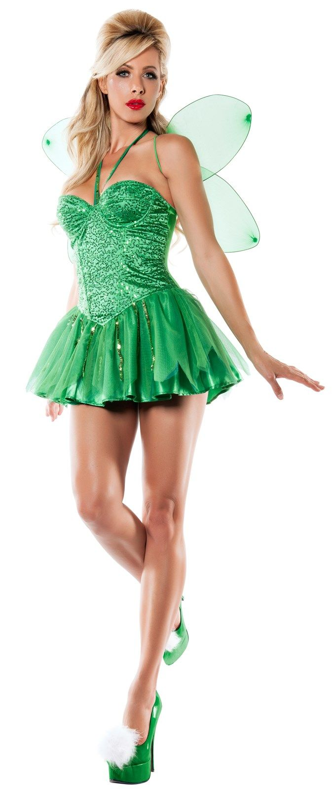 Womens Tinkerbell Fairy Costume Womens Tinkerbell Costume Costumes For Women Tinker Bell Costume Fairy Wings Costume [ 1600 x 675 Pixel ]