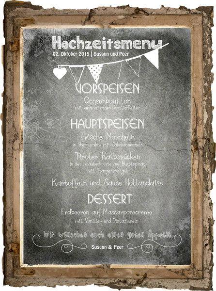 Chalkboard-Style Hochzeit Druck Menükarte von PapierDesign-NRW auf DaWanda.com