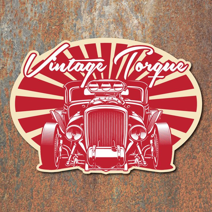 Vintage torque hot rod sticker retro rat classic car custom decal