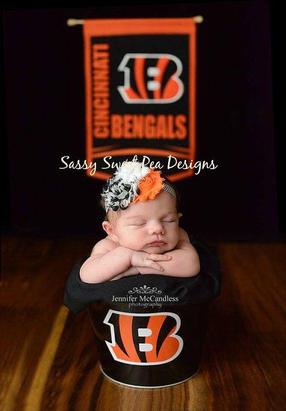 Cincinnati Bengals inspired Shabby Flower Headband/Hard Headband.... Newborn, Baby, Girls Photo Prop Bow