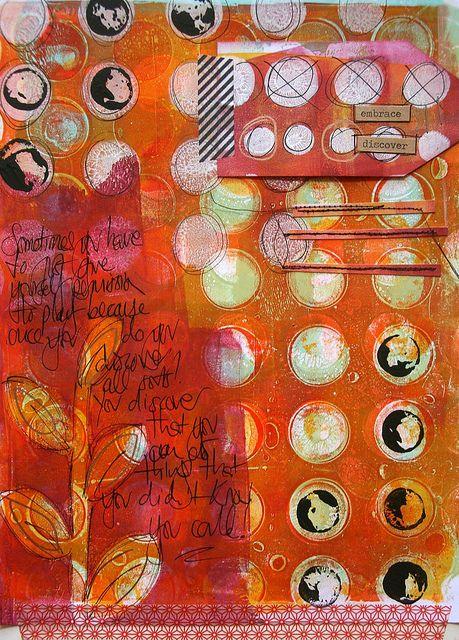 Gelli Arts plate mono-printing in art journal