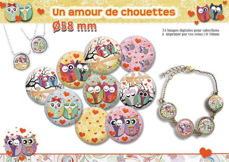 chouette amoureuse |Planche d'images pour cabochon pour vos bijoux || 16075 : Images digitales pour bijoux par digital-arts-crafts-images