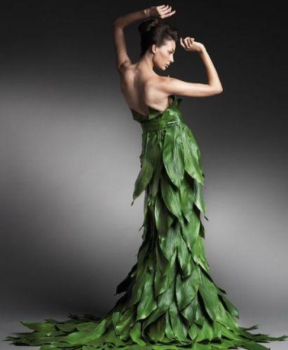 Une robe végétale. Plus besoin de tissus, on a tout ce qu'il faut sous la main.