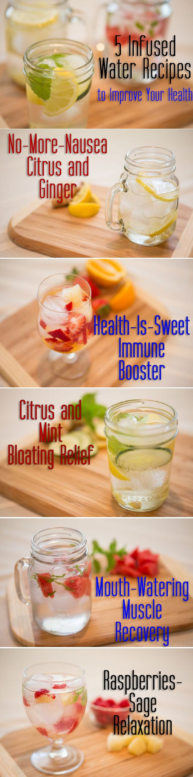 Drinking plenty of water is important to maintain optimal health, but infusing it with these ingredients can make water even more powerful! All natural and refreshing infused water recipes. No more added immune or energy boosts needed!