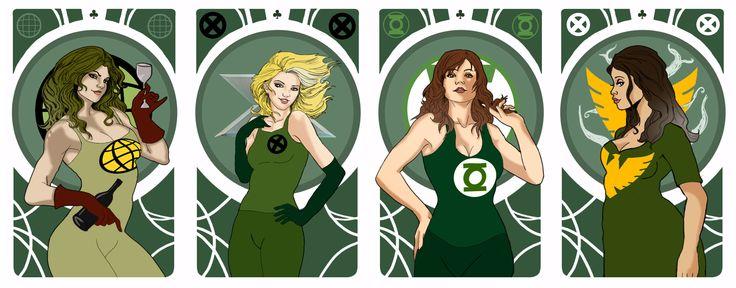 Captain Planet/Rogue/Green Lantern/Phoenix - Superheroes Bachelorette Party