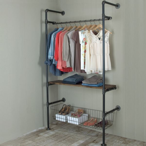 Garment racks made with pipe and fittings give an industrial feel and are extremely durable.