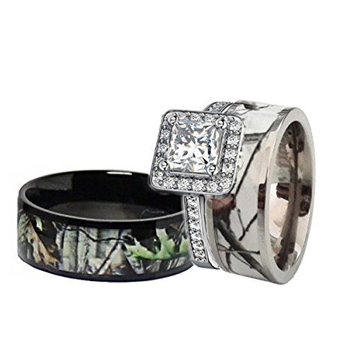 his and hers camo wedding rings his amp hers black amp white titanium camo sterling silver 4808