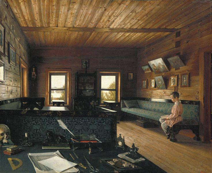 Grigory Soroka (1823 — 1864) Григорий Сорока (1823 — 1864). Кабинет дома в «Островках», имении Н.П. Милюкова