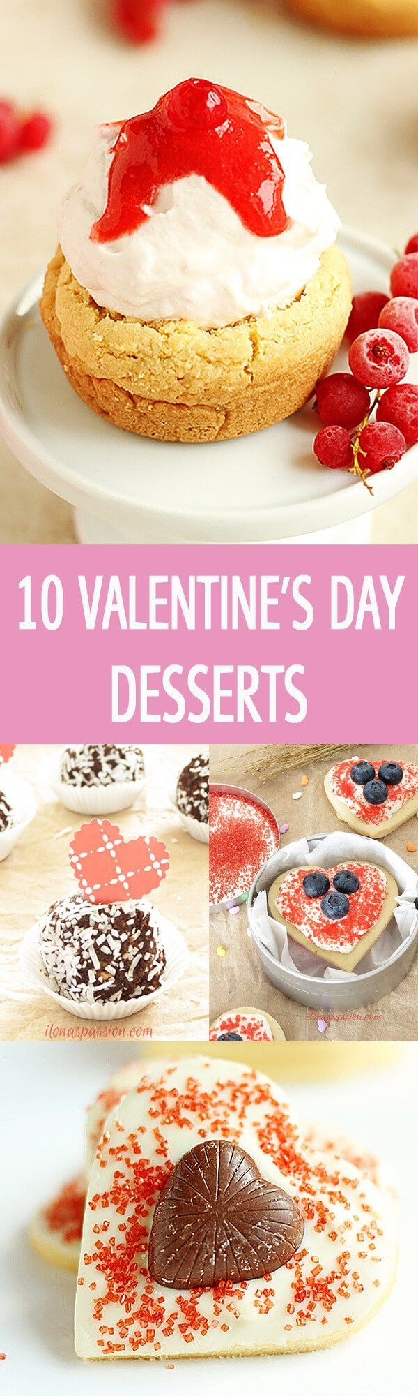 Love is in the air with these scrumptious 10 Valentine's Day desserts including butter cookies, chocolate truffles, mini donuts and more! The BEST recipes! by http://ilonaspassion.com I@ilonaspassion