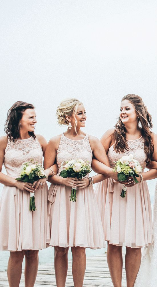 A stunning lace and chiffon bridesmaid dress in blush pink! Also available in 9 other colors. | Kennedy Blue
