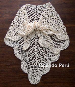 Cómo tejer un chal o punta y borde de abanicos a crochet!. Tutorial y video!!! ✿⊱╮Teresa Restegui http://www.pinterest.com/teretegui/✿⊱╮