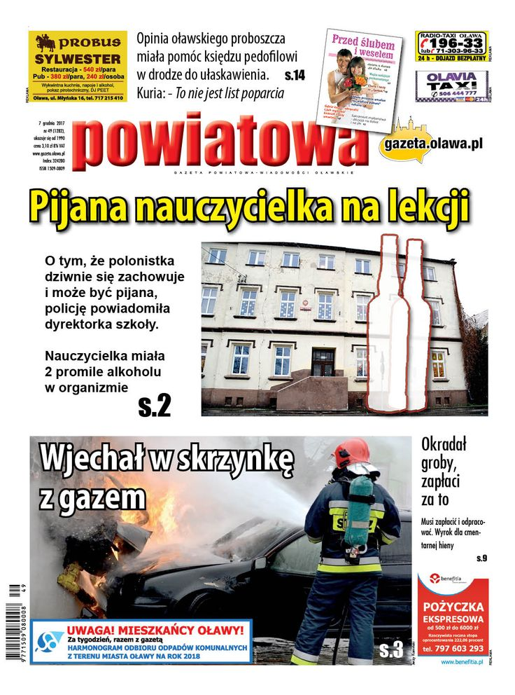 """Pijana nauczycielka na lekcji O tym, że polonistka dziwnie się zachowuje i może być pijana, policję powiadomiła dyrektorka szkoły. Nauczycielka miała 2 promile alkoholu w organizmie. O sprawie piszemy w najnowszym wydaniu """"Powiatowej"""". Artykuł w całości również w e-wydaniu gazety, tutaj: https://www.egazety.pl/ryza/e-wydanie-gazeta-powiatowa-wiadomosci-olawskie.html"""
