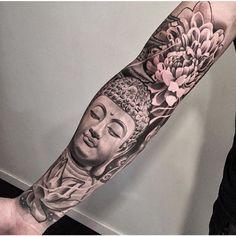 Black and grey buddha tattoo sleeve lotus                              …