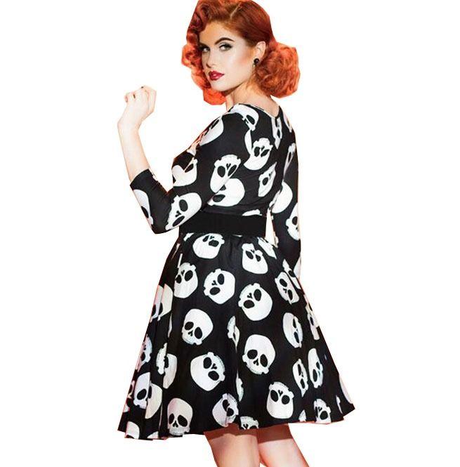 Rebelsmarket vintage o neck skull print fit and flare rockabilly pin up dress dresses 5