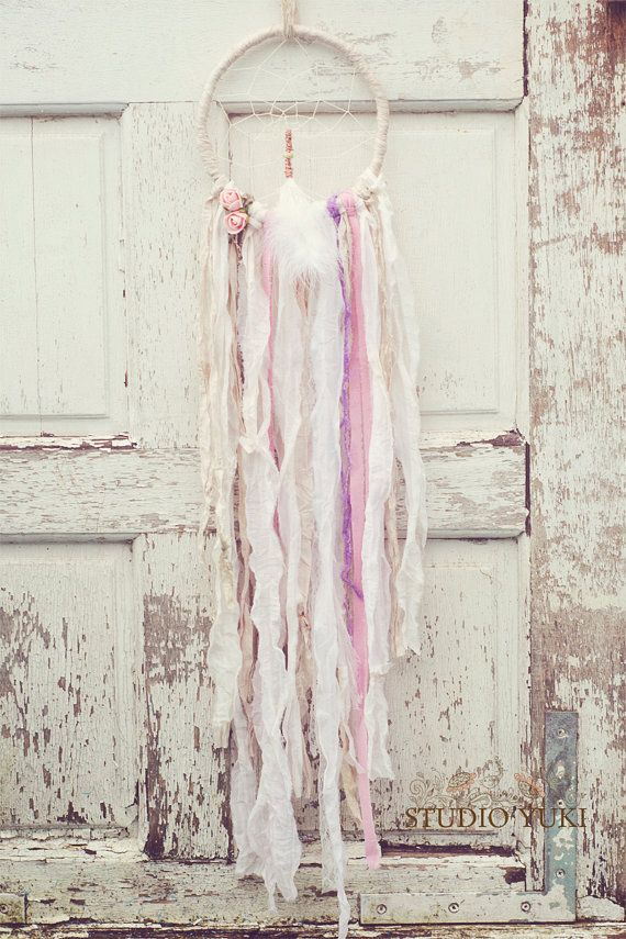 Bohemian Dreamcatcher, Romantic, White Wedding, Pink Roses by Studio Yuki, $72