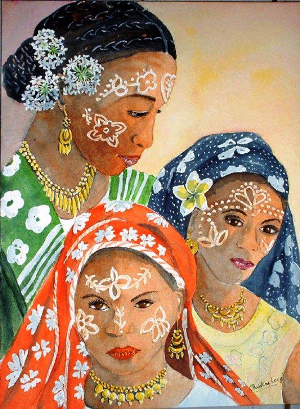 Christine Louzé ,aquarelles de Mayotte : Fleurs ,fruits ,paysages ...