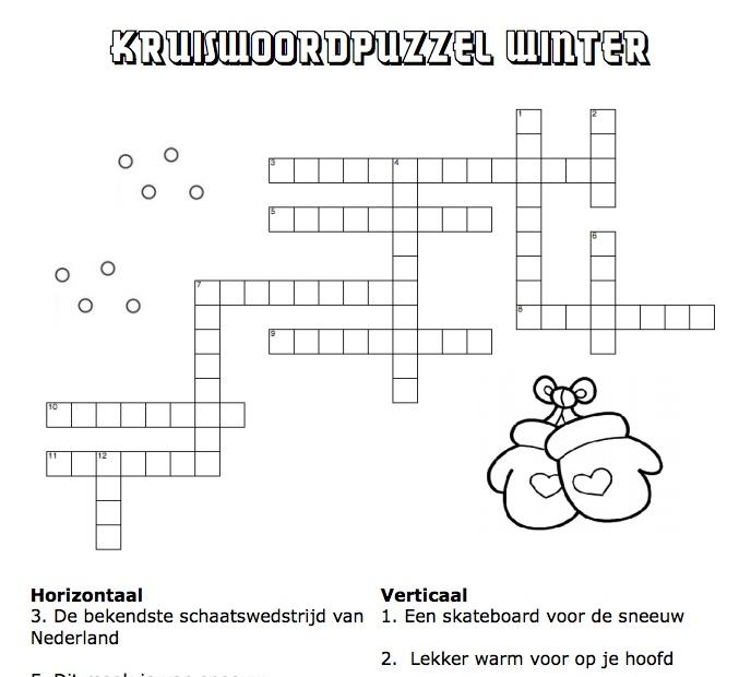 Werkbladen 4 5, Onderwijs Thema, Thema Winter Kerst, Kruiswoordpuzzel ...
