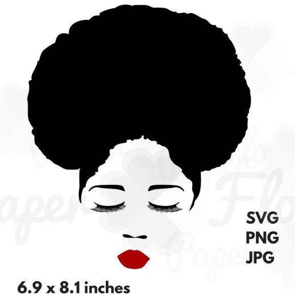 afro hair svg eyelashes lips