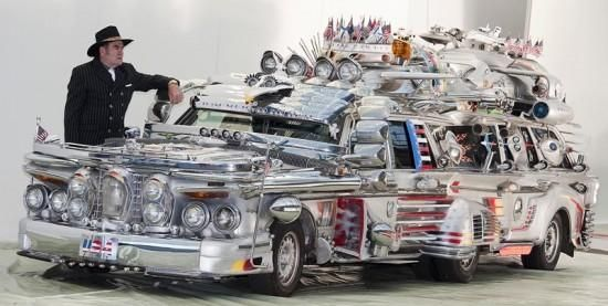 'Finnijet' belongs to Antti Rahko, a 72-year-old chauffeur from Finland. It's built of two Mercedes Benz station wagons joined together, several parts from a 1962 Chrysler Imperial and various components from other vehicles.