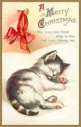 """A Merry Christmas"" Vintage Sleeping Kitten Greetings Card ~ ""May every true friend cling to thee, And every blessing stay"" ...."