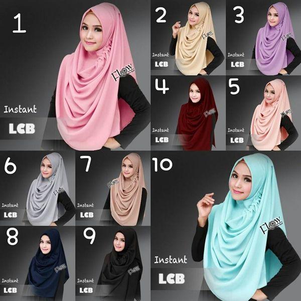Jilbab Instan LCB Hijab pashmina instant bahan diamond, dengan aksen rempel di bagian samping, praktis tinggal slup, tidak perlu pakai peniti.Ket : panjang