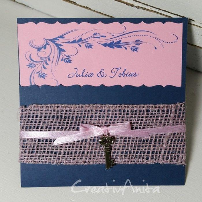 Serie Hochzeit Marine-Rosa Einladungskarte zur Hochzeit