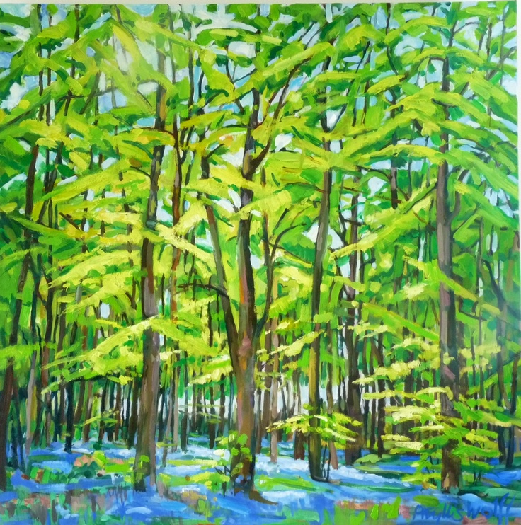 Beeches with bluebells. 80 x 80 cm