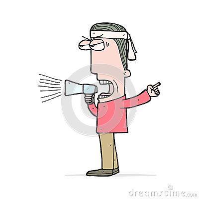 Illustration cartoon demonstrator screaming on loud speaker