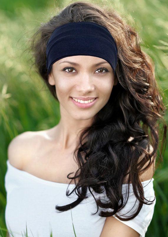 Wide Boho Headband Womens Headwraps Navy by FeathersandFancy
