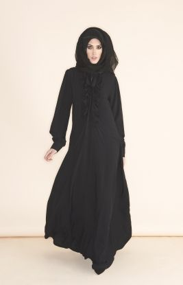 FRONT TIE ABAYA - Superbly soft brushed linen cut in a flowing 'A' line, pretty self fabric frills with a cute tie attached at the top of the neck line.