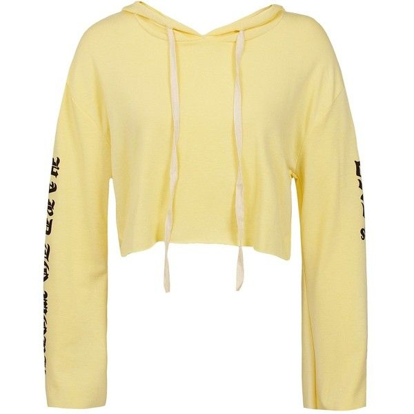 """Sans Souci Yellow """"""""hard to work, easy to love"""""""" graphic cropped... ($29) ❤ liked on Polyvore featuring tops, hoodies, yellow, pullover hoodies, graphic crop top, sweatshirt hoodies, hoodie crop top and cropped hoodie"""