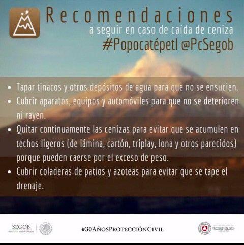 Recomendaciones a seguir en caso de caída de ceniza.  #Popocatepetl