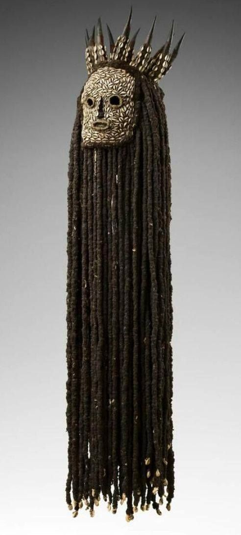 Africa | Mask from the Bamileke people of Cameroon | Horn, vegetal fiber, cowrie shells, human hair and textile || The kunggang of the Bamileke belong to an important association of healers and headmen, and for the purification of villages. They represent the power of intervention against sorcery.