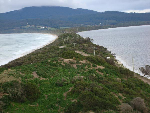 The isthmus joining North and South Bruny Island.  Article & photo by Roger Findlay.