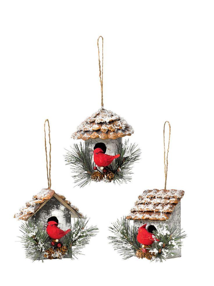 Cardinal Birdhouse Ornaments, Set of 3 | Gardener's Supply Mais