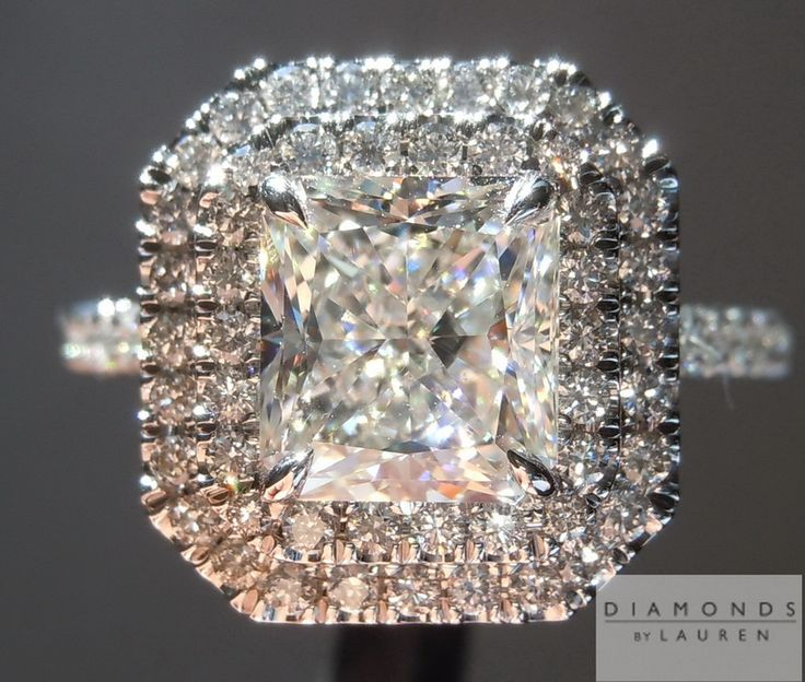 2.02ct H Internally Flawless Radiant Cut Diamond Halo Ring $26,995 #princess #colorlessdiamond #customjewelry #handmade #lovethisring #prettydiamondring #diamondayjewelry #wedding #luxuryfashion #propose #awesomerings