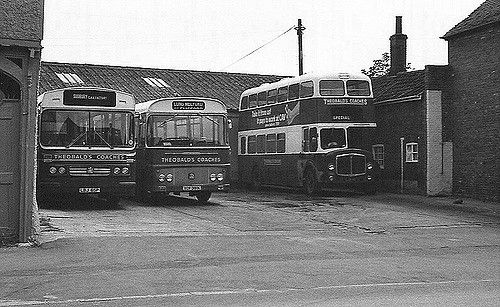 Theobalds Buses, Long Melford  Bedford single-deckers LBJ 65P and XCF 391K, and ex-Halifax AEC Regent V LJX 18.  Theobald's Coaches, Long Melford 1976.
