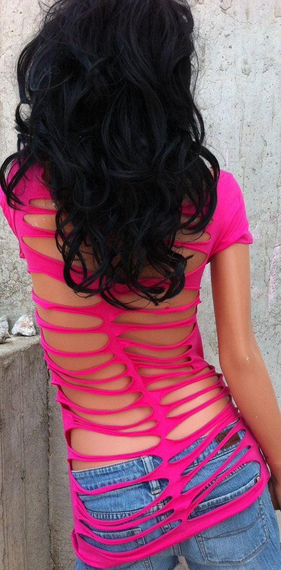 Hot Pink Shredded Shirt