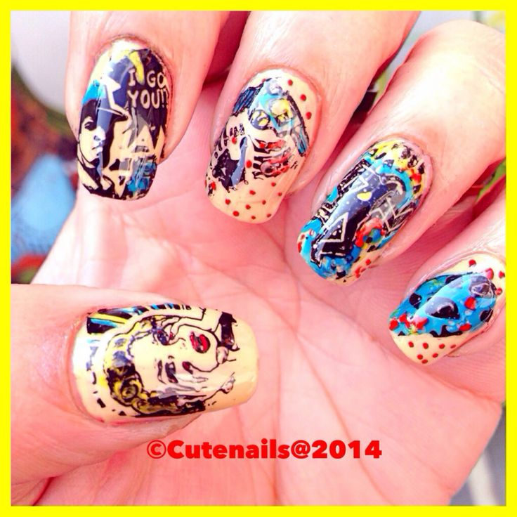 Comic strip nails using moyoulondon comic collection 03