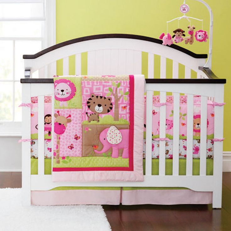 Baby Bedding Crib Cot Quilt Bumpers Sheet Sets - 7 Piece Pink Animal Safari
