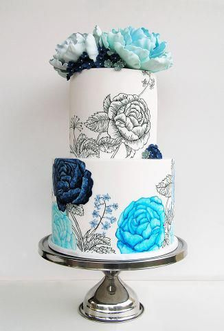 Blue hand-painted floral wedding cake