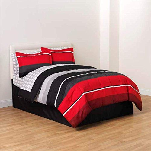 Red black white gray rugby boys full comforter skirt and for Boys rugby bedroom ideas