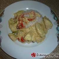 Κοτόπουλο με γιαούρτι και πιπεριές