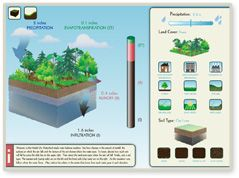 Simple Water Balance Simulator: Learn how changes in rainfall amounts, the surfaces on which the rain falls, and soil texture change where the water goes.