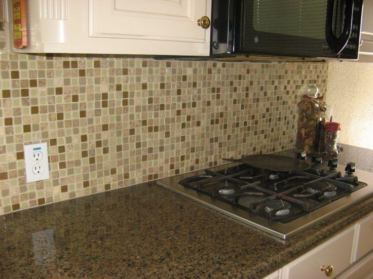 Decoration, Modern Glass Tile Kitchen Backsplash Ideas With Cool White  Wooden Free Standing Kitchen Cabinet
