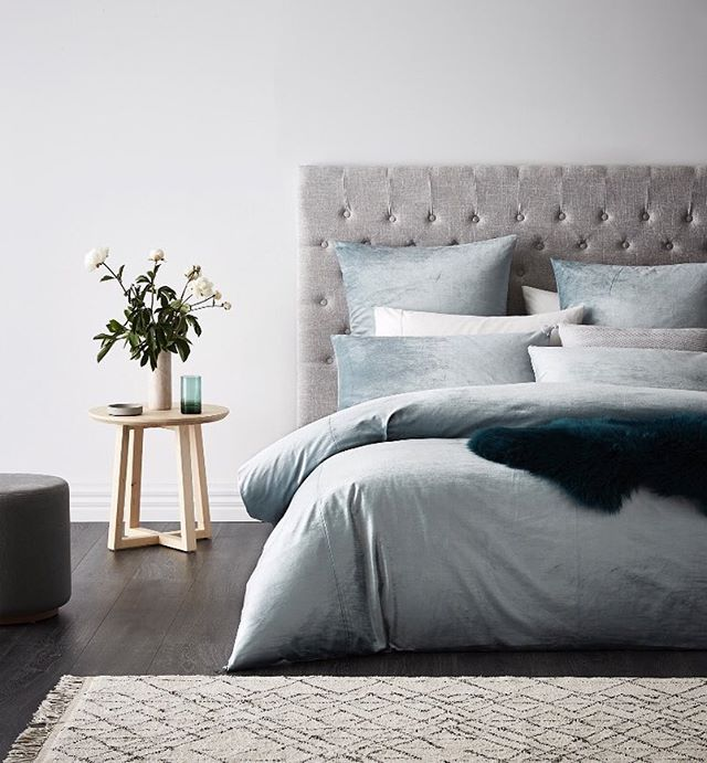 We've got a major velvet crush! This opulent looking design is the Luxe Velvet quilt cover and it's available in this gorgeous duck egg blue colour as well as stone. #bedlinen #quiltcover #bedroom #bedroominspo #bedroomstyling #bedroomdecor #bedroomideas #homestyling #homedecor #homeinterior #velvet #luxe #adairs